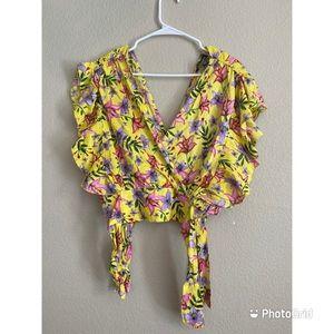 V-neck flowery blouse